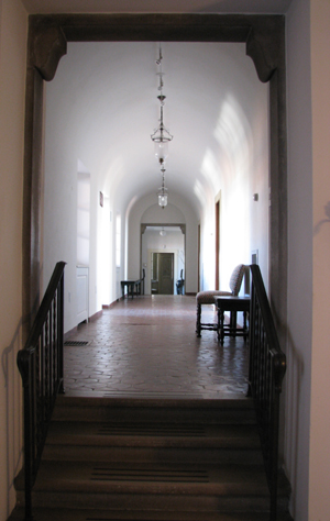 The upstairs hallway where Little Girl Blue has been seen.